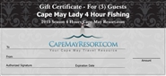 Cape May Lady Gift Certificates Buy 2 Get 1 Free- Use for Special Events, Christmas, Birthday's or Father's Day